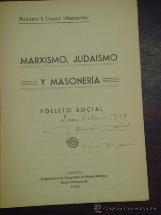 Libros antiguos: MARXISMO, JUDAISMO Y MASONERIA. Folleto social. 1936 - Foto 2 - 36921587