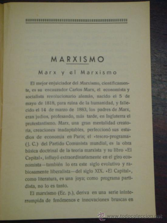 Libros antiguos: MARXISMO, JUDAISMO Y MASONERIA. Folleto social. 1936 - Foto 3 - 36921587