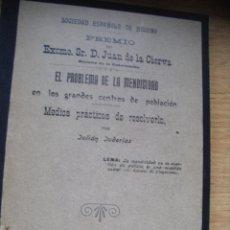 Libros antiguos: EL PROBLEMA DE LA MENDICIDAD EN LOS GRANDES CENTROS DE POBLACION – JULIAN JUDERIAS - 1909. Lote 40300932