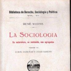 Libros antiguos: LA SOCIOLOGÍA (RENÉ WORMS, 1925) SIN USAR JAMÁS.. Lote 52850302