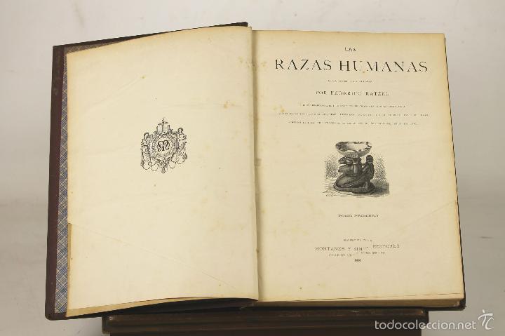 7383 - LAS RAZAS HUMANAS. TOMOS I Y II(VER DESCRIP). RATZEL. EDI. M. Y SIMÓN. 1888-89. (Libros Antiguos, Raros y Curiosos - Pensamiento - Sociología)