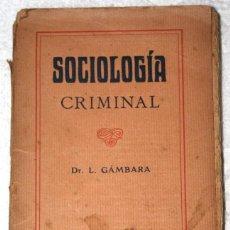 Libros antiguos: SOCIOLOGÍA CRIMINAL 1920 APROX. DR GÁMBARA. BIBLIOT. CIENCIASSOCIALES, MÉDICAS, JURÍDICAS, NATURALES. Lote 57266662