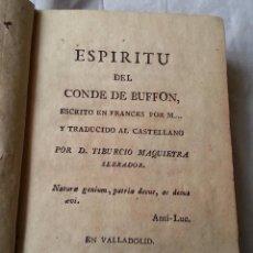 Libros antiguos: VALLADOLID 1798 ESPIRITU DEL CONDE DE BUFFON * ORIGEN HOMBRE Y SU ESTADO EN LA NATURALEZA . Lote 58131705