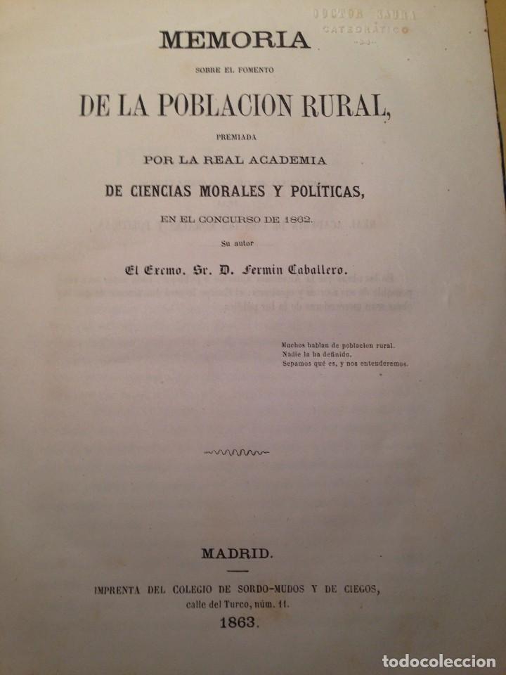 MEMORIA SOBRE EL FOMENTO DE LA POBLACION RURAL, FERMIN CABALLERO (Libros Antiguos, Raros y Curiosos - Pensamiento - Sociología)
