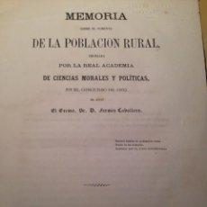 Libros antiguos: MEMORIA SOBRE EL FOMENTO DE LA POBLACION RURAL, FERMIN CABALLERO. Lote 66164914