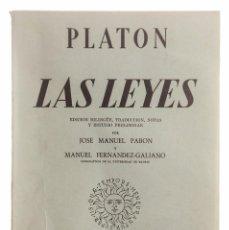 Libros antiguos: PLATÓN, LAS LEYES, 1960. Lote 130851048