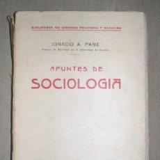 Libros antiguos: PANE, IGNACIO A: APUNTES DE SOCIOLOGIA. MADRID, ED. AMÉRICA C.1920. Lote 131194132