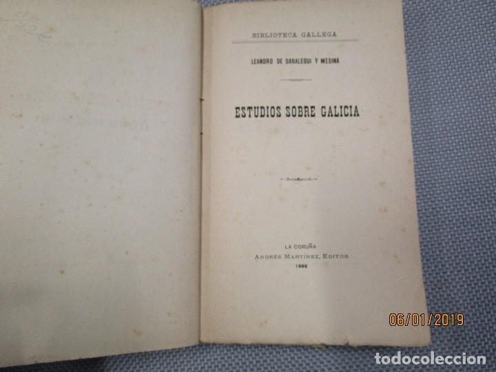 ESTUDIOS SOBRE GALICIA - LEANDRO SARALEGUI Y MEDINA - LA CORUÑA, EDI ANDRES MARTINEZ 1888 + INFO (Libros Antiguos, Raros y Curiosos - Pensamiento - Sociología)