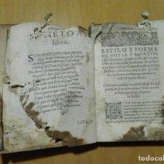 Libros antiguos: ESTILO Y FORMULARIO DE CARTAS FAMILIARES... POR EL MAESTRO GERONIMO PAULO DE MANZANARES. 1600. Lote 137421678