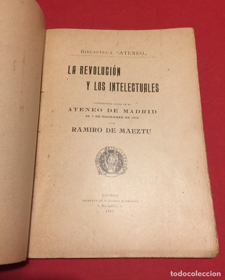 Libros antiguos: La Revolución y los intelectuales. Ramiro de Maeztu, 1911 Ateneo de Madrid. Inencontrable. - Foto 2 - 140339609