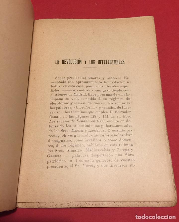 Libros antiguos: La Revolución y los intelectuales. Ramiro de Maeztu, 1911 Ateneo de Madrid. Inencontrable. - Foto 3 - 140339609