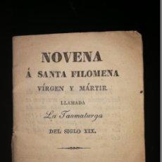Libros antiguos: NOVENA A SANTA FILOMENA VIRGEN Y MÁRTIR. GERONA. A. FIGARO. 1836.. Lote 143391246