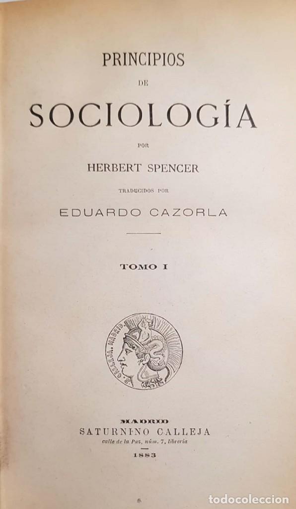 HERBERT SPENCER. PRINCIPIOS DE SOCIOLOGÍA. 2 TOMOS, UN VOLUMEN. MADRID, 1883 (Libros Antiguos, Raros y Curiosos - Pensamiento - Sociología)