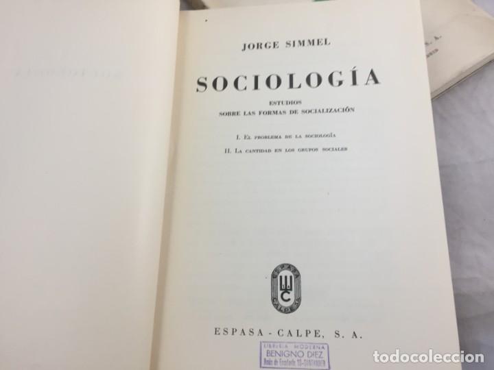 Libros antiguos: Sociología Jorge Simmel 2 tomos 1939 Espasa Calpe buen estado. Rústica original - Foto 3 - 152920502