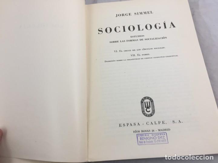 Libros antiguos: Sociología Jorge Simmel 2 tomos 1939 Espasa Calpe buen estado. Rústica original - Foto 4 - 152920502