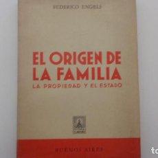 Libros antiguos: EL ORIGEN DE LA FAMILIA. FEDERICO ENGELS. ED. CLARIDAD. 1971. Lote 155590278