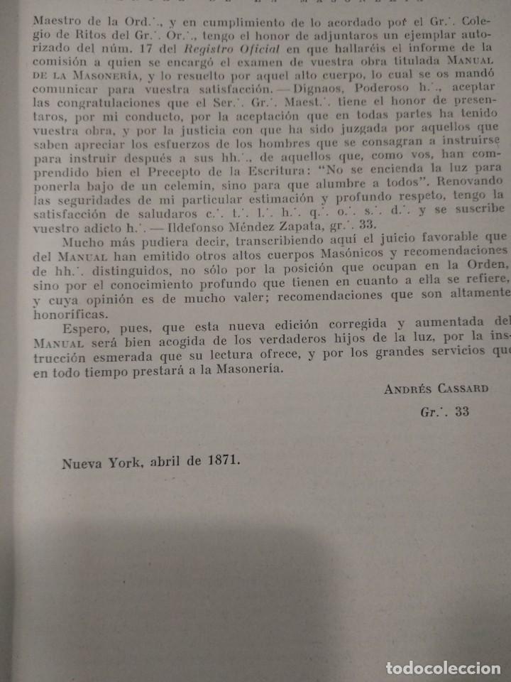 Libros antiguos: CASSARD , ANDRES - MANUAL DE LA MASONERIA EL TEJADOR DE LOS RITOS ANTIGUOS ESCOCES, FRANCES Y DE ADO - Foto 5 - 157966630