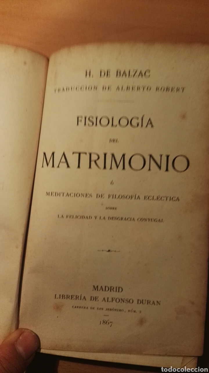 Libros antiguos: Balzac. Fisiologia del matrimonio. 1867 - Foto 2 - 165655573