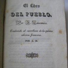 Libros antiguos: EL LIBRO DEL PUEBLO - F. LAMENNAIS - BARCELONA 1838. Lote 167730372