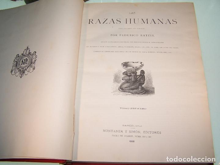 Libros antiguos: Las razas humanas. Federico Ratzel. 2 tomos. Montaner y Simon. Barcelona. 1888. - Foto 3 - 170858015