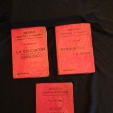 Libros antiguos: AÑOS 1906- 1910. LOTE DE 3 LIBROS SOCIOLOGÍA.DEGENERACIO ALCOHOLISMO. GENESIS LEYES PENALES.. Lote 172755423
