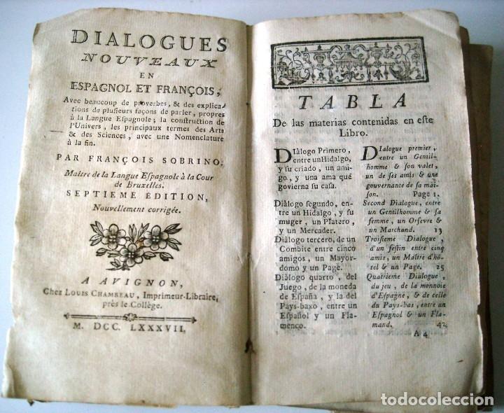 SOBRINO - DIALOGOS NUEVOS EN ESPAÑOL Y FRANCES... 1787 (Libros Antiguos, Raros y Curiosos - Pensamiento - Sociología)
