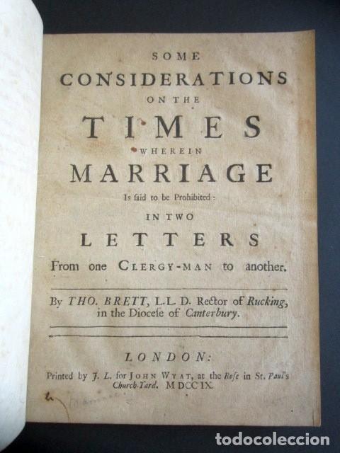AÑO 1709. SOME CONSIDERATIONS ON THE TIMES WHEREIN MARRIAGE IN TWO LETTERS. LONDRES. (Libros Antiguos, Raros y Curiosos - Pensamiento - Sociología)