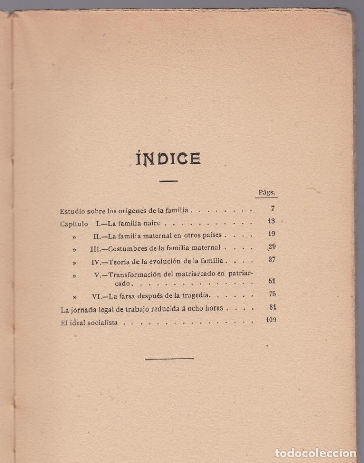 Libros antiguos: EL MATRIARCADO - PABLO LAFARGUE - CENTRO EDITORIAL PRESA - Foto 3 - 190708615