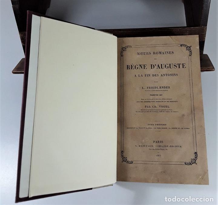 Libros antiguos: MOEURS ROMAINES DU RÈGNE DAUGUSTE A LA FIN DES ANTONINS. PARÍS. 1865. - Foto 2 - 195200942
