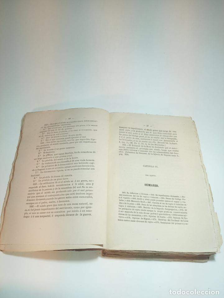 Libros antiguos: Tratado teórico-práctico del matrimonio, de sus impedimentos y dispensas. 2 tomos. Sevilla. 1864. - Foto 10 - 197095372