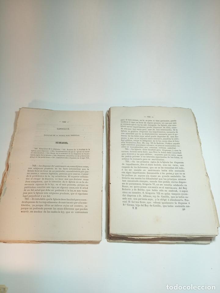 Libros antiguos: Tratado teórico-práctico del matrimonio, de sus impedimentos y dispensas. 2 tomos. Sevilla. 1864. - Foto 11 - 197095372