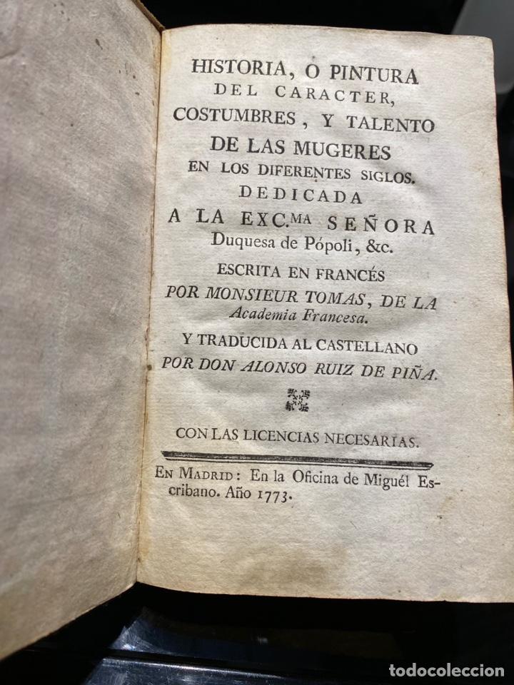 Libros antiguos: HISTORIA o pintura del carácter costumbres y talento de las mugeres en los diferentes siglos... - Foto 2 - 217685476