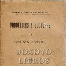 Libros antiguos: LATINO, ANÍBAL. PROBLEMAS Y LECTURAS. Lote 222875955