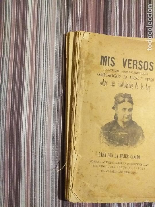 Libros antiguos: 1894 JULIA CODORNIU MIS VERSOS INIQUIDADES DE LA LEY PARA CON LA MUJER CASADA FEMINISMO S. XIX - Foto 2 - 232066215