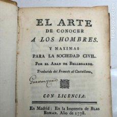 Livros antigos: EL ARTE DE CONOCER A LOS HOMBRES - BELLEGARDE 1778 - ENCUADERNACION EN PERGAMINO. Lote 238398705