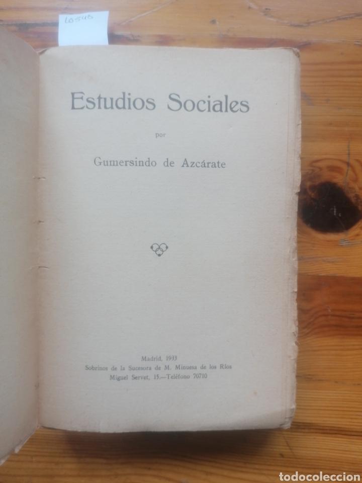 Libros antiguos: Estudios Sociales. Gumersindo de Azcárate. Suc. M. Minuesa de los Ríos. Madrid, 1933. - Foto 2 - 254140885