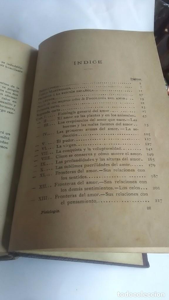 Libros antiguos: Fisiología del amor. Pablo Mantegazza. Madrid. Imprenta de Ricardo Fé. 1899 - Foto 3 - 264784304