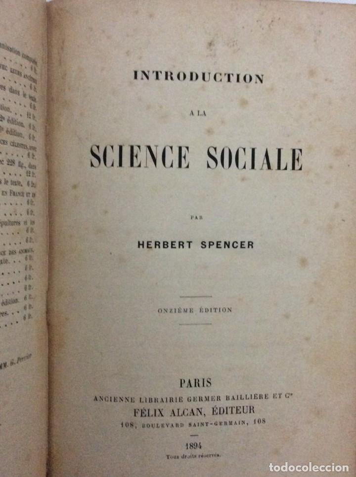 Libros antiguos: Introduction a la science sociale. Herbert Spencer, 1894 - Foto 2 - 284723708