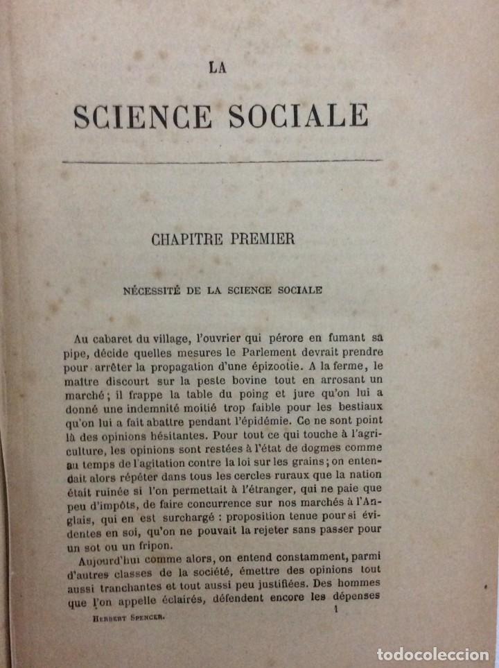 Libros antiguos: Introduction a la science sociale. Herbert Spencer, 1894 - Foto 3 - 284723708