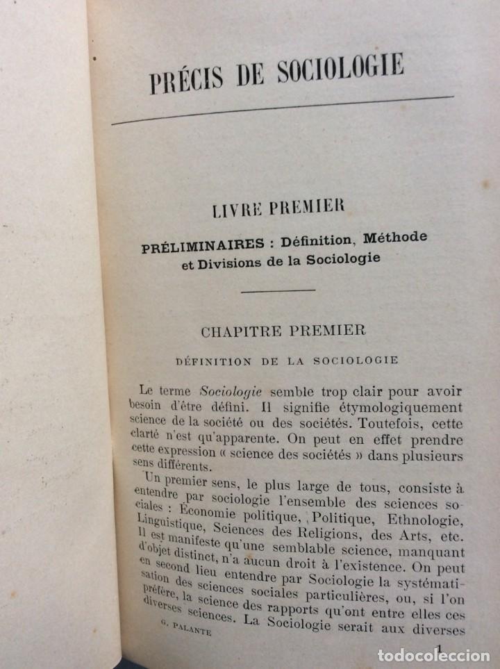 Libros antiguos: Précis de sociologie. Par G. Palante, Félix Alcan, 1901. 1.ª edicion - Foto 4 - 285439908
