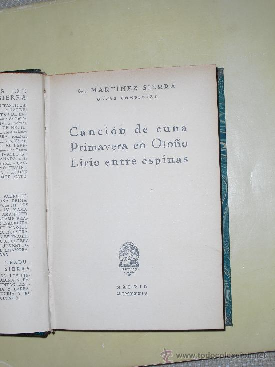 Libros antiguos: 1934 OBRAS COMPLETAS MARTINEZ SIERRA - Foto 2 - 27046794