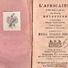 Libros antiguos: OPERA ITALIANA 1871 - L'AFRICAINE / LA AFRICANA. Lote 25965783