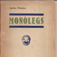 Libros antiguos: MONÒLEGS / APELES MESTRES / LLIBRERIA MILLÀ BARCELONA 1932. Lote 28513866