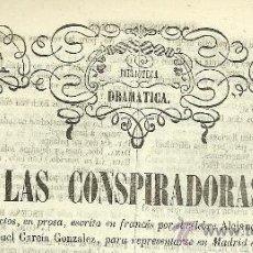 Libros antiguos: LAS CONSPIRADORAS :COMEDIA ... / ALEJANDRO DUMAS - 1861. Lote 32196286