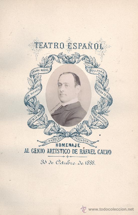 Libros antiguos: VARIOS. Homenaje a Rafael Calvo. Madrid, 1888. Teatro. S5 - Foto 3 - 32205949
