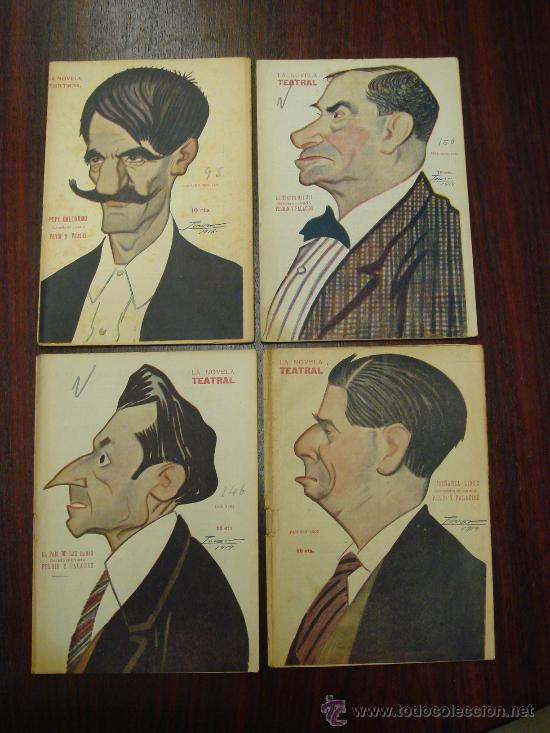4 LIBRETOS DE OBRAS TEATRALES. 1918-19. CARICATURAS DE TOVAR (Libros antiguos (hasta 1936), raros y curiosos - Literatura - Teatro)