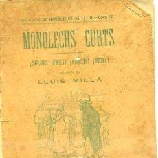 Alte Bücher - LLUÍS MILLÀ : MONÓLECHS CURTS (1901) TEATRE CATALÀ - 33967337