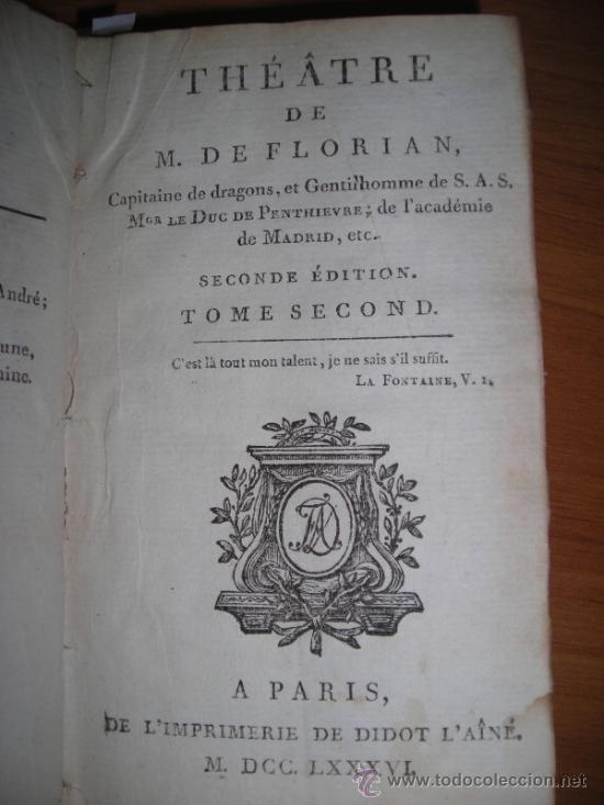 Libros antiguos: Oeuvres de M. De Florian Tomo II, 1786, Contiene 7 grabados - Foto 5 - 34344756