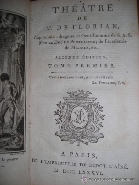Libros antiguos: Oeuvres de M. De Florian Tomo I, 1786, Contiene 1 Frontispicio y 4 grabados - Foto 5 - 34344671