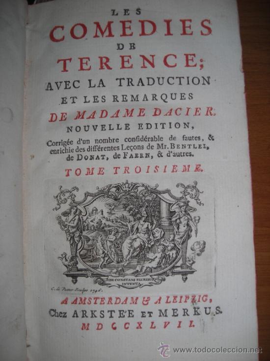 Libros antiguos: Les Comedies de Terence, Dacier, 1747. Contiene 10 grabados - Foto 5 - 34409565